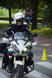 Police on a motorcycle Royalty Free Stock Photos
