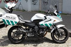 Police motorcycle in Porto, Portugal Stock Image