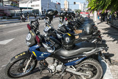 Police motorcycle in row Stock Photos
