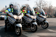Police motorcycle squad Stock Photos