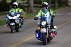 Police Motorcycle at Tour Alberta 2016 Stock Image