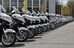 Police Motorcycles. Officer Chris Kilcullen was a Eugene motor officer killed in the line of duty in April 2011.  The image reflects approximately 50% of the Stock Image