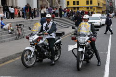 Police on the motorcycles in front of the Archbishop's Palace of Lima. Royalty Free Stock Images