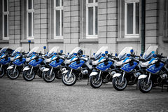 Police motorcycles. Line of police motorcycles in Germany Stock Photos