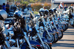 Police Motorcycles lined up for competition Royalty Free Stock Images
