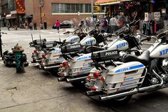 Police Motorcycles on the Lower East Side Royalty Free Stock Images