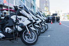 Police motorcycles parked Royalty Free Stock Photo