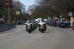 Police Motorcycles patrol the course as nearly 30000 runners participated in the Boston Marathon on April 17, 2017 in Boston Royalty Free Stock Image