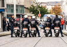 Police motorcycles political march during a French Nationwide da. STRASBOURG, FRANCE - SEPT 12, 2017: Police on motorcycles preparing for political march during Stock Images
