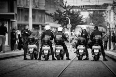 Police motorcycles political march during a French Nationwide da. STRASBOURG, FRANCE - SEPT 12, 2017: Police on motorcycles preparing for political march during Royalty Free Stock Images
