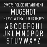 Police mugshot board sign alphabet Royalty Free Stock Photos
