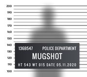 Police mugshot criminal template. Vector silhouette lineup criminal arrest portrait mugshot.  vector illustration