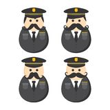 Police mustache guy avatar portrait picture icon Royalty Free Stock Photos