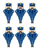 Police mustache guy avatar portrait picture icon Stock Photo