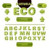Police naturelle verte colorée pour la création et la conception de l'interface des jeux et des applications mobiles Vecteur illustration libre de droits