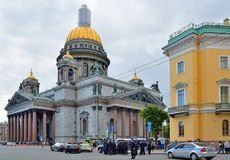 Police near St. Isaac's Cathedral in the cordon stock photo