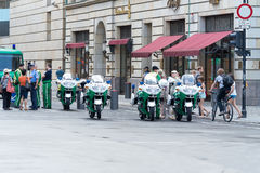 Police near the U.S. embassy on Unter den Linden Royalty Free Stock Photos
