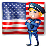 A police near the USA flag Royalty Free Stock Photos