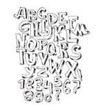 Police noire tirée par la main, sur le fond blanc Dirigez l'alphabet, l'ordre de lettres d'A à Z et les nombres Ordre d'ABC, bon Photo stock