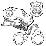 Police objects sketch vector illustration