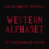 Police occidentale d'alphabet de vintage Lettres et nombres affligés d'empattement illustration libre de droits