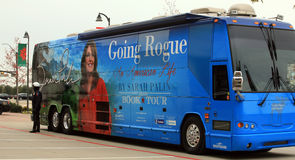 Police Office Guarding Palin Tour Bus. Police Officer in Plano TX stands watch over Sarah Palin's tour bus Stock Photography