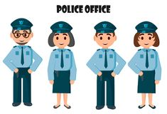 Police office, two police teams - young and old. A police man and a police woman. Simple vector illustration Stock Image
