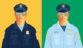 Police officer. 2 police officers in different colored uniforms Stock Photos