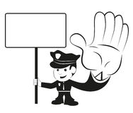 Police officer. Cute police officer with blank sign Stock Images