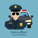 Police officer avatar. Vector illustration, flat design. Police officer with car on background. Cop, policeman, sheriff, enforcement. Symbol of security, law Royalty Free Stock Images