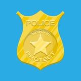 Police officer badge. Gold emblem. Stock Image