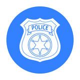 Police officer badge icon in black style isolated on white background. Crime symbol stock vector illustration. Royalty Free Stock Image