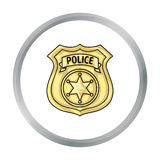 Police officer badge icon in cartoon style isolated on white background. Crime symbol stock vector illustration. Royalty Free Stock Image