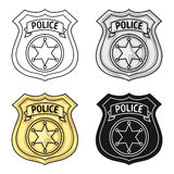 Police officer badge icon in cartoon style isolated on white background. Crime symbol stock vector illustration. Stock Photos
