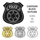 Police officer badge icon in cartoon style isolated on white background. Crime symbol stock vector illustration. Stock Photo