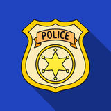 Police officer badge icon in flat style isolated on white background. Crime symbol stock vector illustration. Stock Images
