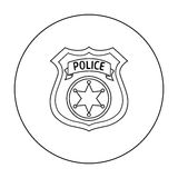 Police officer badge icon in outline style isolated on white. Crime symbol. Royalty Free Stock Photos