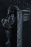 Police officer with ballistic shield Royalty Free Stock Image