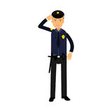 Police officer in a blue uniform standing at attention saluting, colorful character Illustration royalty free illustration
