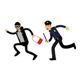Police officer in a blue uniform with truncheon chasing a thief with stolen bag, colorful characters Illustration royalty free illustration