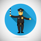 Police officer character with adjusting rod icon Stock Image