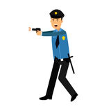 Police officer character in a blue uniform aiming a gun  Illustration. On a white background Royalty Free Stock Photos