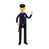 Police officer character in a blue uniform with raised index finger  Illustration. On a white background Royalty Free Stock Images