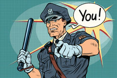 Police officer COP with a baton. Vintage pop art retro comic book vector illustration Stock Images