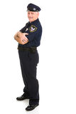 Police Officer Design Element. Handsome, mature police officer in a relaxed pose with arms crossed.  He's leaning back on invisible white space.  Insert your Royalty Free Stock Photos