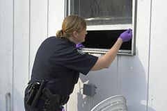 Police officer dusting prints. Police woman dusting for finger prints at crime scene, some one broke into offices Royalty Free Stock Photo