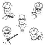 Police Officer Emblem Set Stock Images
