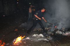 Police officer fighting fire Stock Photos
