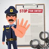 Police officer holds up hand in stop gesture. character design - Royalty Free Stock Photography