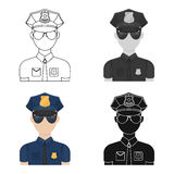 Police officer icon in cartoon style isolated on white background. Police symbol stock vector illustration. Royalty Free Stock Photos